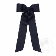 Wee Ones Girls Grosgrain Hair Bow with Streamers - Scallop Edge - Navy Blue
