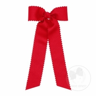 Wee Ones Girls Grosgrain Hair Bow with Streamers - Scallop Edge - Red