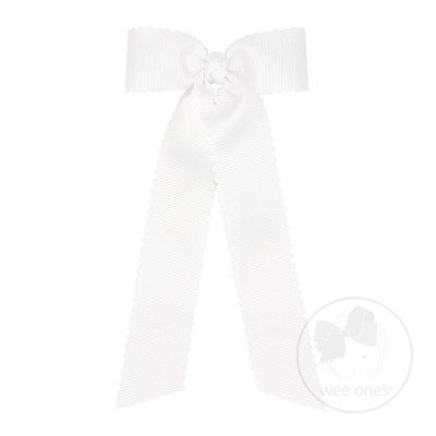 Wee Ones Girls Grosgrain Hair Bow with Streamers - Scallop Edge - White