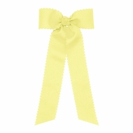 Wee Ones Girls Grosgrain Hair Bow with Streamers - Scallop Edge - Yellow
