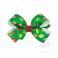 Wee Ones Girls Grosgrain Holiday Print Hair Bow - Green Christmas Gifts