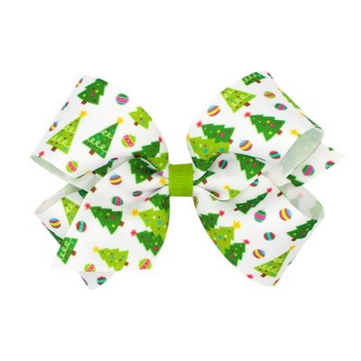 Wee Ones Girls Grosgrain Holiday Print Hair Bow - Green Christmas Trees