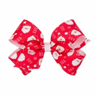 Wee Ones Girls Grosgrain Holiday Print Hair Bow - Red Santa Claus