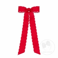 Wee Ones Girls Grosgrain Moonstitch Bow with Streamers - Red with White