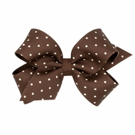 Wee Ones Girls Grosgrain Overlay Bow - Tiny Dots - Coffee Brown