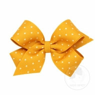 Wee Ones Girls Grosgrain Overlay Bow - Tiny Dots - Gold Mustard