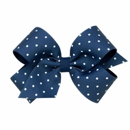 Wee Ones Girls Grosgrain Overlay Bow - Tiny Dots - Peacoat Blue