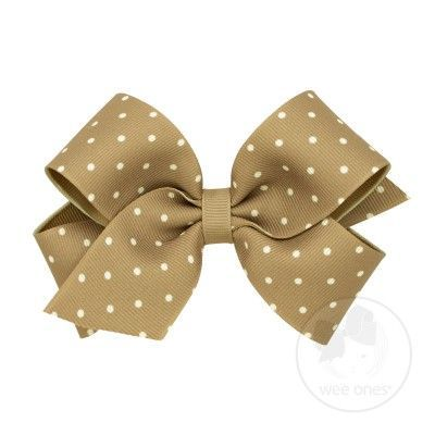 Wee Ones Girls Grosgrain Overlay Bow - Tiny Dots - Tan Khaki