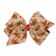 Wee Ones Girls Grosgrain Overlay Hair Bow - Christmas Gingerbread