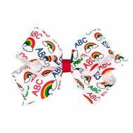 Wee Ones Girls Hair Bow - Back to School - ABC Rainbow Print