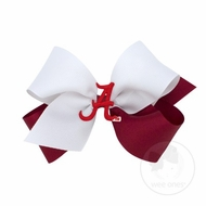 Wee Ones Girls Hair Bow - Collegiate - 2-Tone with College Patch - Alabama Crimson Tide