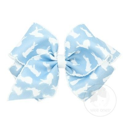 Wee Ones Girls Hair Bow - Easter Bunny - Blue