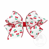 Wee Ones Girls Hair Bow - Moonstitch Red Cherry Print