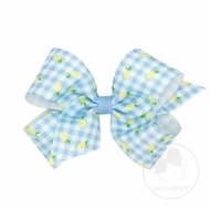 Wee Ones Girls Hair Bow on Clip - Blue Gingham with Lemons