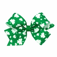 Wee Ones Girls Hair Bow on Clip - St. Patrick's Day Clover Shamrocks - Green