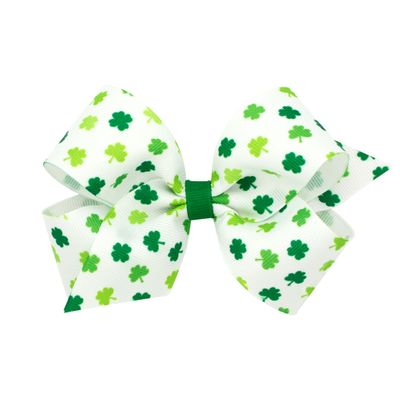 Wee Ones Girls Hair Bow on Clip - St. Patrick's Day Clover Shamrocks on White