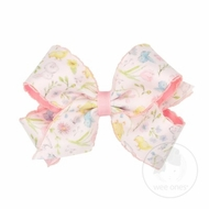 Wee Ones Girls Hair Bow - Pink Pastels Spring Illusion Print Overlay Bow