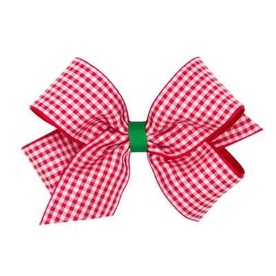 Wee Ones Girls Hair Bow - Red Gingham with Green Center