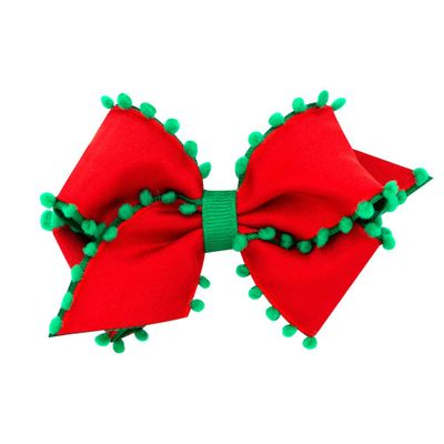 Wee Ones Girls Hair Bow - Red with Green Pom Poms