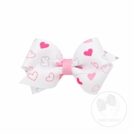 Wee Ones Girls Hair Bow - Tiny Pink Valentines Hearts on White