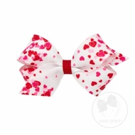 Wee Ones Girls Hair Bow - Pink & Red Valentines Hearts on White