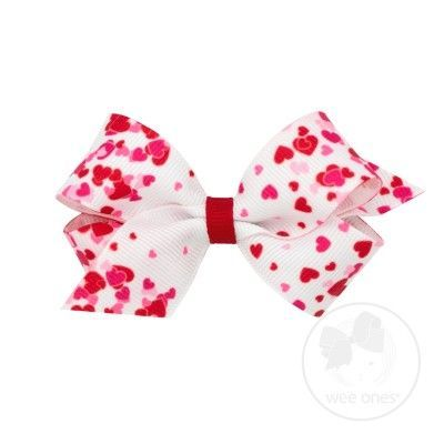 Wee Ones Girls Hair Bow - Valentines Hearts on White
