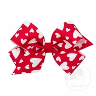 Wee Ones Girls Hair Bow - Valentines Hearts Print - White Hearts on Red
