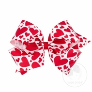 Wee Ones Girls Hair Bow - Valentines Hearts Print - Red Hearts on White