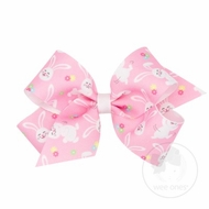 Wee Ones Girls Hair Bow - White Easter Bunnies Print on Pink