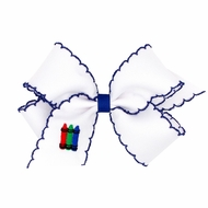 Wee Ones Girls Hair Bow - White with Blue Moonstitch - Embroidery Crayons