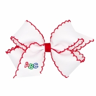 Wee Ones Girls Hair Bow - White with Red Moonstitch - Embroidery ABC