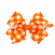 Wee Ones Girls Harvest Theme Printed Grosgrain Bow - Orange Gingham
