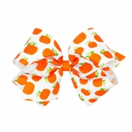 Wee Ones Girls Harvest Theme Printed Grosgrain Bow - Orange Pumpkins