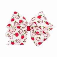 Wee Ones Girls Harvest Theme Printed Grosgrain Bow - Red Apples