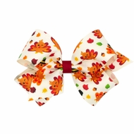 Wee Ones Girls Harvest Theme Printed Grosgrain Bow - Thanksgiving Turkey