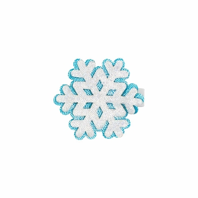 Wee Ones Girls Holiday Glitter Pinch Clip - Blue & Silver Snowflake
