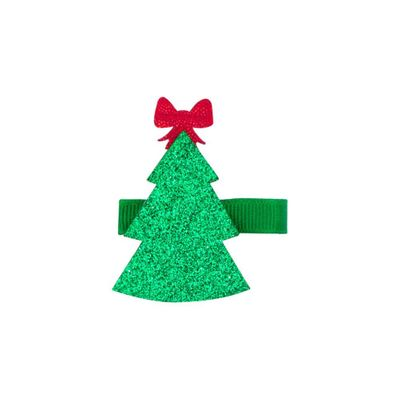 Wee Ones Girls Holiday Glitter Pinch Clip - Christmas Tree