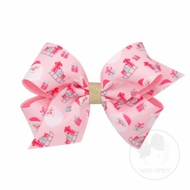 Wee Ones Girls Holiday Hair Bow - Pink with Santa Claus