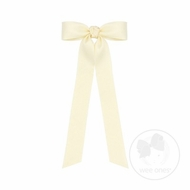 Wee Ones Girls Matte Satin Bow with Streamers - Antique White