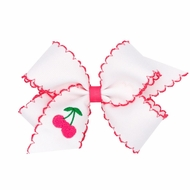 Wee Ones Girls Moonstitch Bow - White with Pink - Embroidered Cherry