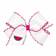 Wee Ones Girls Moonstitch Bow - White with Pink - Embroidered Watermelon