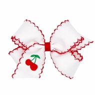 Wee Ones Girls Moonstitch Bow - White with Red - Embroidered Cherry
