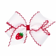 Wee Ones Girls Moonstitch Bow - White with Red - Embroidered Strawberry