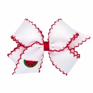Wee Ones Girls Moonstitch Bow - White with Red - Embroidered Watermelon