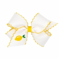 Wee Ones Girls Moonstitch Bow - White with Yellow - Embroidered Lemon