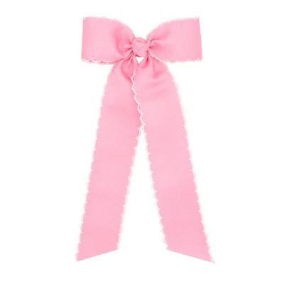 Wee Ones Girls Grosgrain Moonstitch Bow with Streamers - Light Pink with White