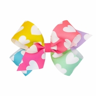 Wee Ones Girls Novelty Grosgran Hair Bow on Clip - Rainbow Colors with Hearts