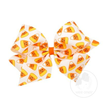 Wee Ones Girls Novelty Hair Bow - Halloween Candy Corn