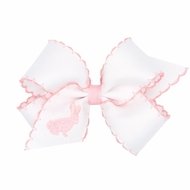Wee Ones Girls Novelty Hair Bow - Moonstitch White with Pink - Embroidered Bunny