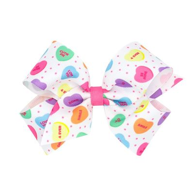 Wee Ones Girls Novelty Hair Bow - Pastel Valentine Conversation Hearts